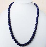 Edelsteinkette Natur Lapis-Lazuli Halskette 8mm Perlen 52 cm Collier True Gems