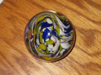VINTAGE JOHN DEGENHART BLUE, YELLOW, WHITE  5 FLOWER BUBBLE PAPERWEIGHT-1950's