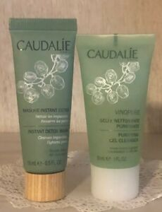 Caudalie Vinopure Purifying Gel Cleanse 1 oz 30ml & Instant Detox Mask 15ml .5oz