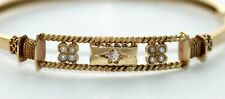 Small Edwardian Victorian seed pearl & diamond 9 ct yellow gold bangle bracelet
