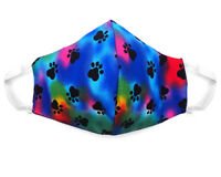 Fabric Face Mask Cotton Reusable Washable Adult Handmade in US Tie dye Paw Print