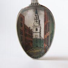 Old North Church Boston MA Silverplate Souvenir Spoon Color Scene