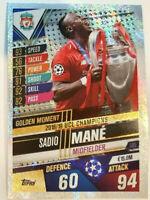 2020 Match Attax 101 Soccer Card UCL Champions Liverpool Sadio Mane Gold Moment