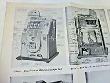 Original 1930s Mills Silent / Mystery Jackpot Bell Slot Machine Brochure 24 x 19