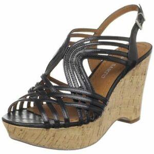 FRANCO SARTO FLURRY size 8.5 M Black Women Wedge Heel Shoe Sandal Ankle Strap