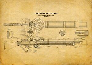 Lewis Machine Gun Patent Print WW1 British Militaria WWI Wood Framed or Unframed