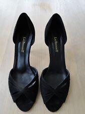 L K Bennett Black Suede Peep Toe high heel. Worn once, size 6.5/ euro 40
