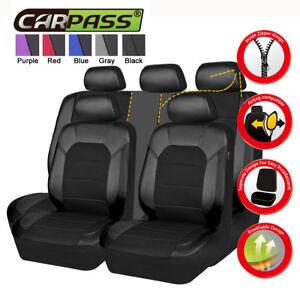 Universal Car Seat Cover Airbag Leather Mesh Black For SUV VAN Sedan Truck 60/40