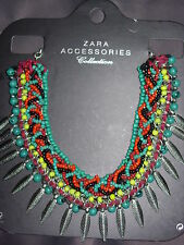 ZARA BNWT NEUF COLLIER PLASTRON PERLES plumes  NECKLACE PEARL SOLD OUT