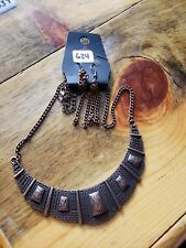 Paparazzi Long Necklace & Earring set (new)BRONZE W/ CONCHOS 624