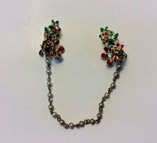 Vintage Gold Tone Rhinestone Pearl Red Flower Sweater Dress Scarf Clip Jewelry