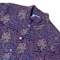 Coldwater Creek Women L Jacket Tapestry Button Front Long Sleeve Mandarin Collar