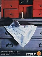 PUBLICITE ADVERTISING 015 1965 FRANC OR parure de lit princesse Mathilde