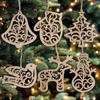 6Pcs Vintage Christmas Wooden Pendants Ornament DIY Wood Crafts Xmas Tree Decor