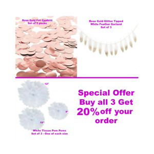 Tissue Paper Pom Poms/Confetti/Feather Garland-Rose Gold/White-Weddings/Parties