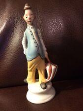 Vintage ARDCO Porcelain Pot Belly Clown Figurine  with Umbrella.