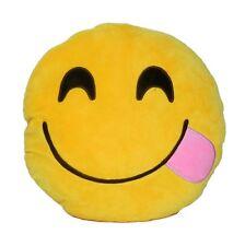 "USA SELLER Emoji Pillow 12"" Inch  Yellow Smiley 30cm Emoticon (Licking)Glutton"