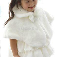 Flower Girls Faux Fur Shawl Wrap Shrug Jacket Bolero Coat Cloak Cape Wedding