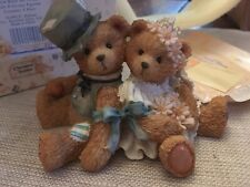 ENESCO CHERISHED TEDDIES 1992 BRIDE GROOM, ROBBIE & RACHEL, 911402 NIB Old Stock