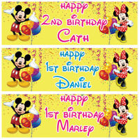 2 personalised birthday banner mickey minnie mouse balloon children party poster