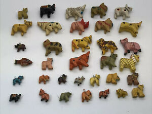 Vintage Hand Carved Wooden Beads /Miniature Animal Figurines 34 Pcs Lot India VN