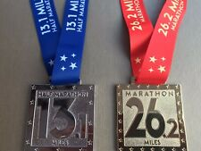 Matching Set Of Half Marathon & Marathon Bespoke Charity Virtual Running Medals