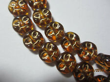Gold Metallic Inlay Amber Gold Brown Czech Moon Face Coin Beads 9mm