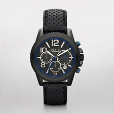 Relic by Fossil  Men's Leather Band Watch Chronograph Black n Blue ZR 66056 NIB