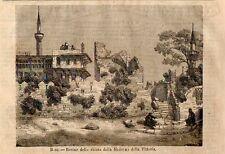 Stampa antica RODI Chiesa Madonna della Vittoria Grecia Greece 1870 Old Print