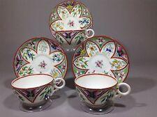 Antique Royal Worcester Enameled Butterflies&wild Flowers Tea Cup&saucer  6pc