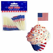 120pcs USA American 4th July Stars Stripes Flag Party Tableware Food Picks