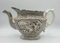 "Antique Adams Staffordshire English Teapot Brown Transferware Soft Paste 11.5"" L"
