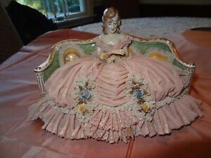 ANTIQUE VTG. DRESDEN LADY FIGURINE ON SOFA 1660