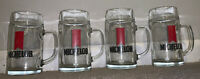 Set Of 4 Vintage Michelob Beer Glass Steins Red Decor Rare Logo with Handle USA