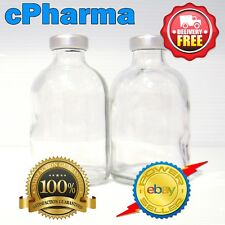 3 GLASS VIALS 100ML STERILE AND UNSEALED ALUMINIUM TOP LID VIAL BOTTLE