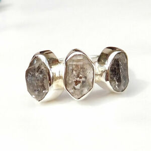 Natural Herkimer Diamond Ring 925 Sterling Silver Herkimer Diamond Ring-S260