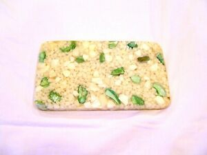 Acrylic and shell white and green trivet pot holder tile, c. 1970s