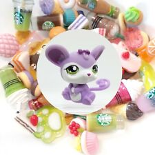 Authentic Littlest Pet Shop Purple Mouse Rat # 2489 + 🌭�Suprise Food Items🥤