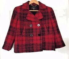 Talbots - Red/Black Plaid Double Breast Tweed Jacket - Petite Size 8 - Pre-Owned