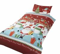 CHRISTMAS SANTA SNOWMEN RUDOLPH PRESENTS RED COTTON BLEND DOUBLE DUVET COVER