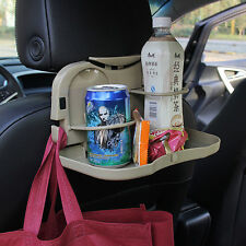 Car Back Seat Folding Food Bottle Cup Drink Tray Mount Holder Table Stand Beige