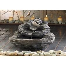 Rock Design Tabletop Water Fountain W/ Rock Like Tiers, Electric Pump, Indoor