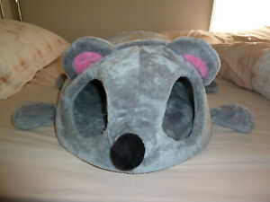Cat dog cave bed mouse shape hide tunnel toy nest soft cushion  house gray,grey