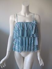 NWT SWEET PEA Anthropologie Blue Stripe Ruffle Layered Stretch Nylon Top fits S