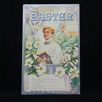 EASTER GREETINGS EMBOSSED POSTMARKED 1911 EASTER LILIES & ALTER BOYS SINGING