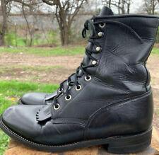 Justin L506 Western Roper Kiltie Boots Womens Laceup Sz 6.5 B