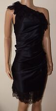 VICKY MARTIN black satin one shoulder lace ruched cocktail dress BNWT 10 RRP£195