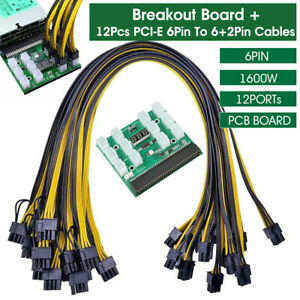 Breakout Board Server Adapter PSU Power Supply HP 1600W GPU Mining W/ Cables UK