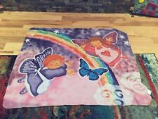 Pink Butterfly & Rainbow Themed Polyester Blanket 5' X 4'
