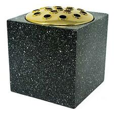 Black Speckled With Gold Lid Memorial Graveside Funeral Flower Rose Bowl Vase